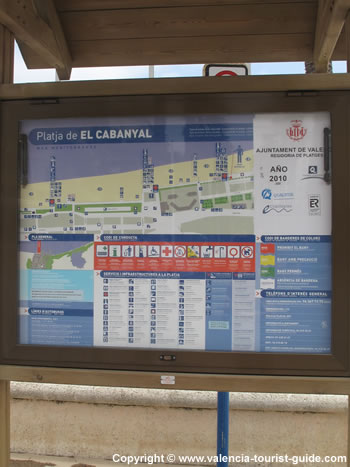 A sign for the beach 'Platja El Cabanyal' in Valencia