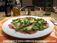 Lunchtime in Valencia - a plate of carpaccio